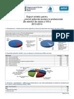 Raport Sintetic Pentru Chestionarul OSP Clasa a 8-A, Sibiu 2013-2014