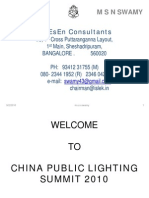 Status of Developments in Lighting in India ---- A country presentation from India in China Public Lighting Seminar CPLS-2010