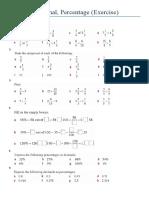 Fraction Decimal Percentage (Exercise)