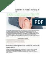 manual de Como Quitar El Dolor de Rodilla Rápido y de Forma Efectiva