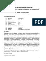 Silabo Matematica I Contabilidad Administrativa y Auditoría