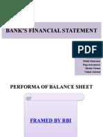 BANK'S FINANCIAL STATEMENT