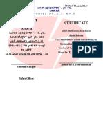 Safety Certificate Ayele Esheyu