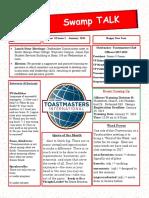 Swamp Talk, Okefenokee Toastmasters Newsletter,  January 2018