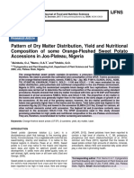 Pattern of Dry Matter Distribution, Yield and Nutritional Composition of some Orange-Fleshed Sweet Potato Accessions in Jos-Plateau, Nigeria