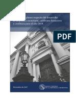 Informe de Objetivos y Planes para el año 2018