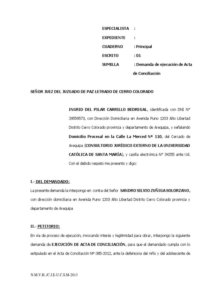 Demanda de Ejecucion de Acta de Concilia