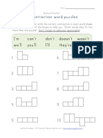 Word Shapes Contraction Worksheet