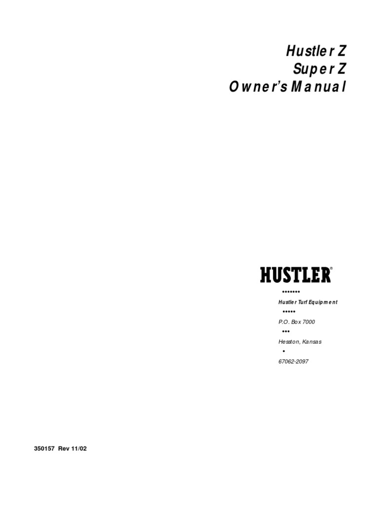 Hustler z owners manuals