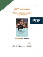 La Lorraine Est Francaise Depuis 250 Ans - Dossier de Presse