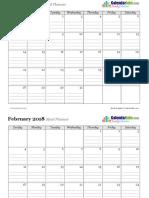 2018 Monthly Menu Planner