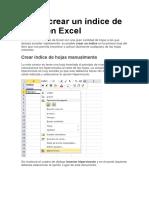 Cómo Crear Un Índice de Hojas en Excel