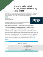 India vs Sri Lanka 2nd T20 Highlights