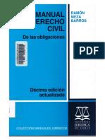 De Las Obligaciones. Décima Edición. Ramón Meza Barros