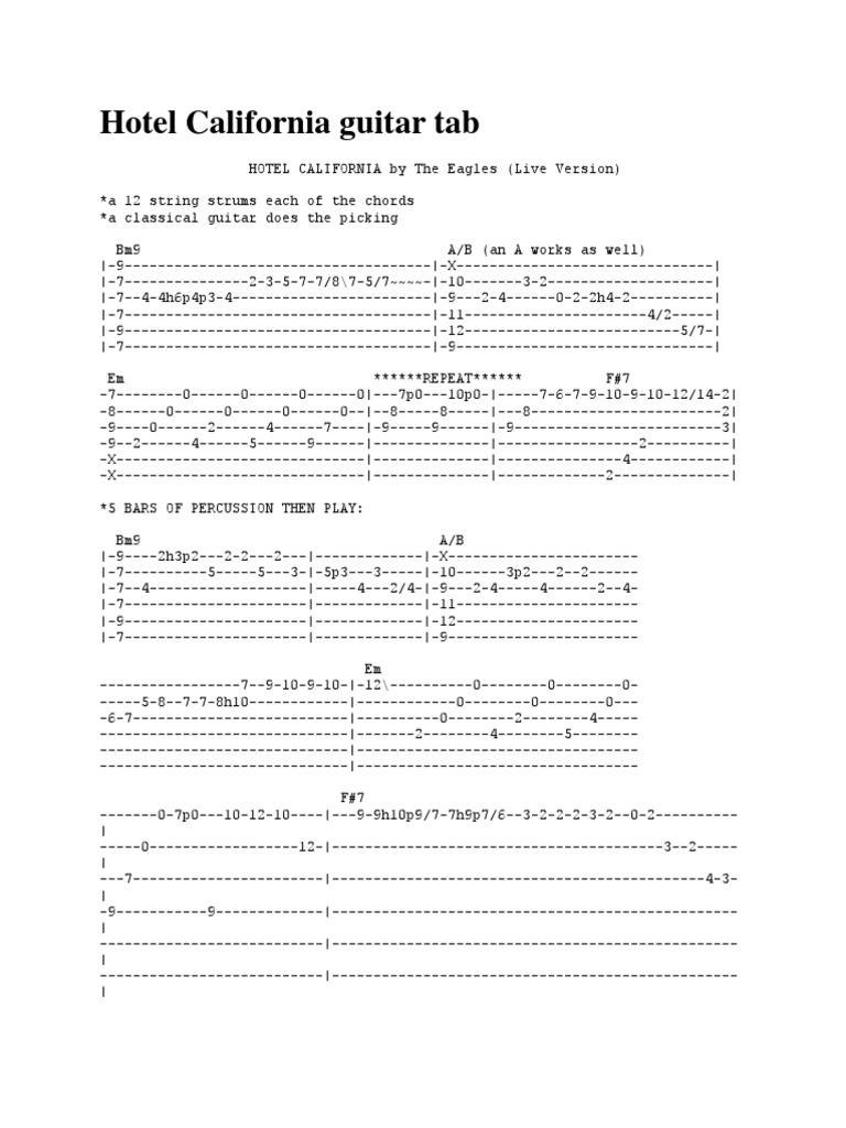 Hotel California Guitar Tab Guitars Musical Forms