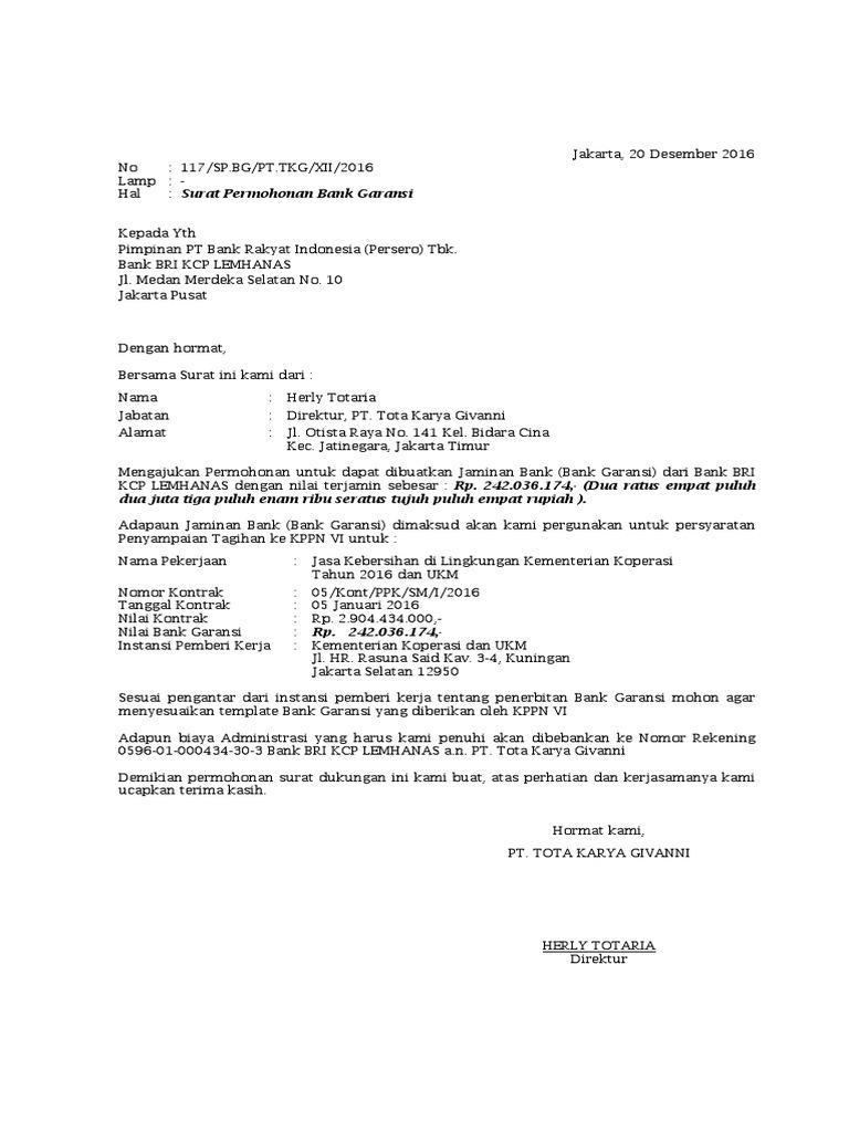 Contoh Surat Permohonan Garansi Bank