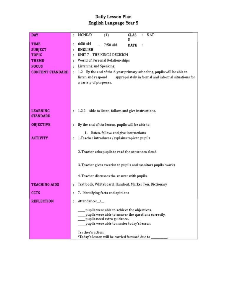 Unit 7 (Week 1) | Lesson Plan | English Language