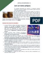 EL AZUCAR (Un Dulce Peligro) - Articulo de Nutricion N°15