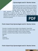 Fortis Vasant Kunj Gynecologist and Dr. Rachna Verma