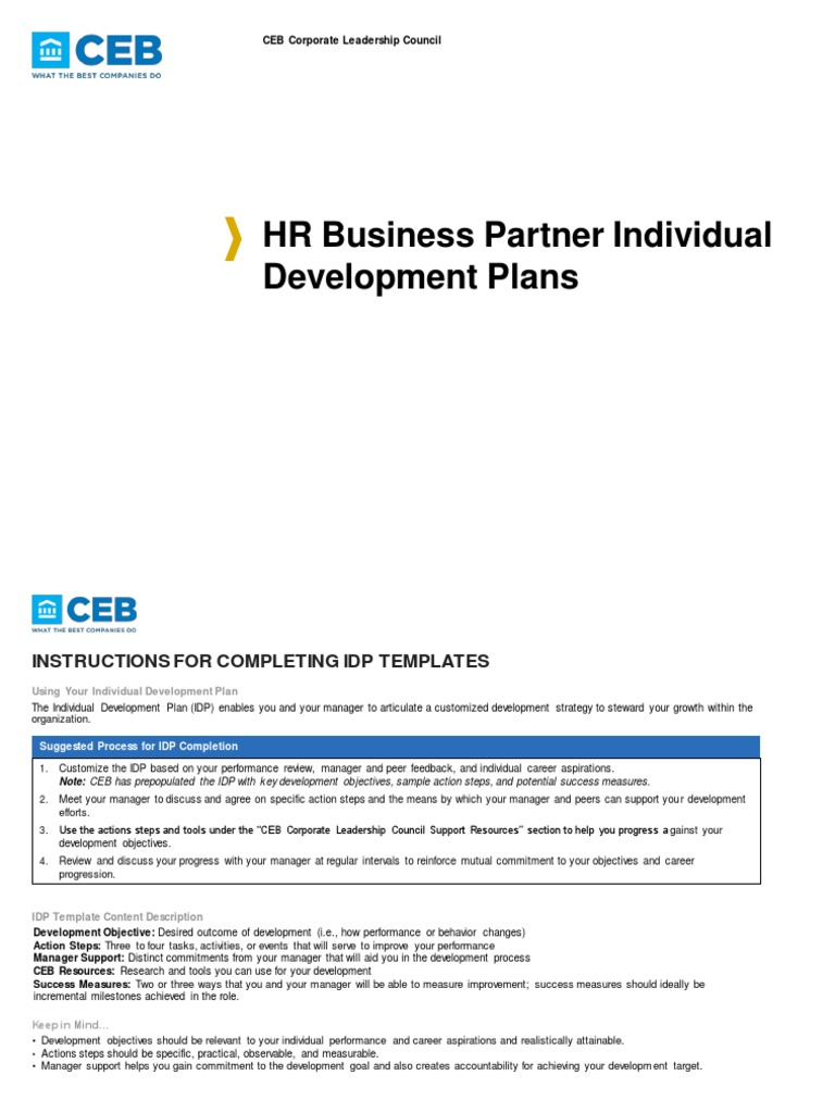 Individual Development Plan Template For Managers Image collections ...