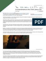 Rajya Sabha Passes Amendments to the Child Labour Act - The Economic Times