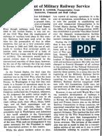 Development of Military Railway Service. MAJ George E. Lourie, TC