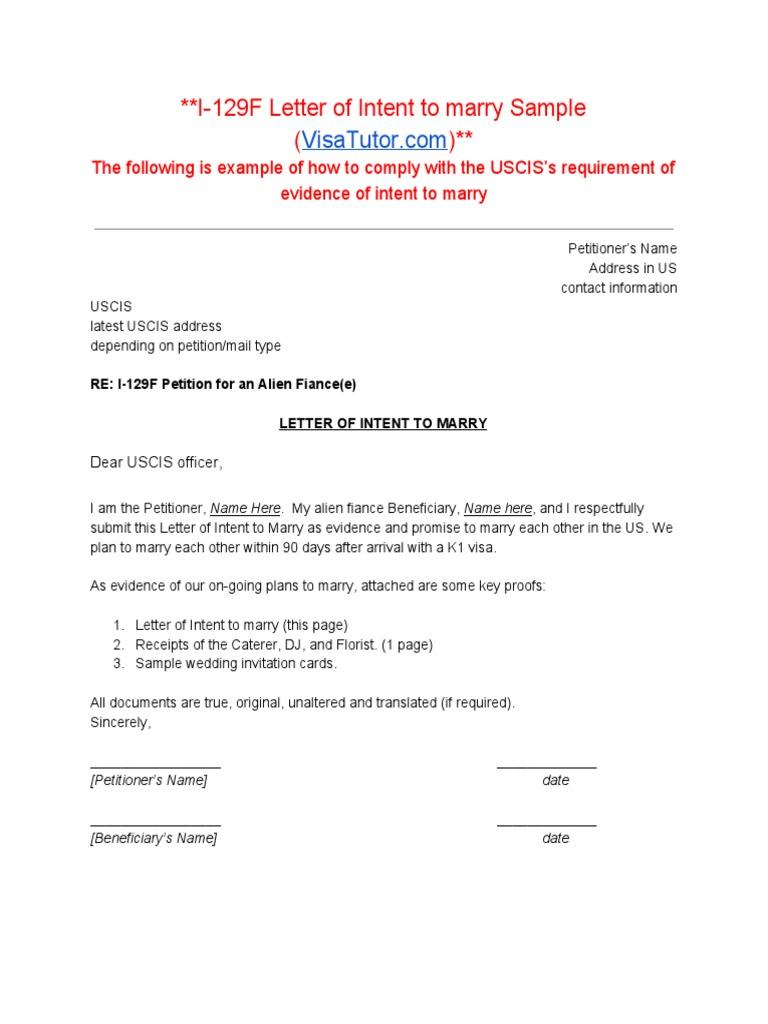 I 129f letter of intent to marry spiritdancerdesigns Images