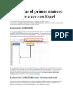 Encontrar El Primer Número Diferente a Cero en Excel