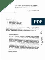 Minuta del Comité de Transparencia de Morena
