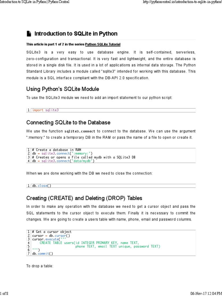 SQL 1 Introduction to SQLite in Python _ Python Central