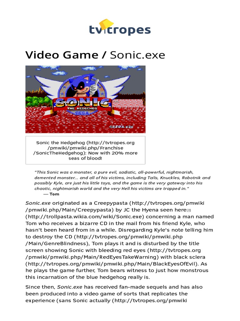 Sonic Exe | Entertainment | Leisure