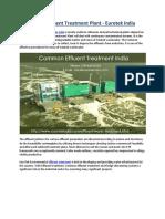 India's Effluent Water Treatment Plant - Eurotek India