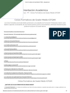 Ciclos Formativos De Grado Medio Cfgm Educaweb
