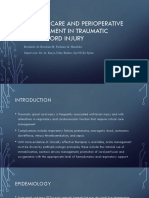 Perioperative Management in Spinal Cord Injury & Spinal Balance