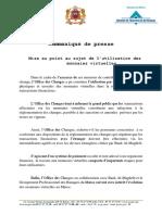 Office Des Changes_communiqué Monnaies Virtuelles
