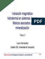 Transición Magmático-hidrotermal en Sistemas Ígneos Félsicos Asociados A