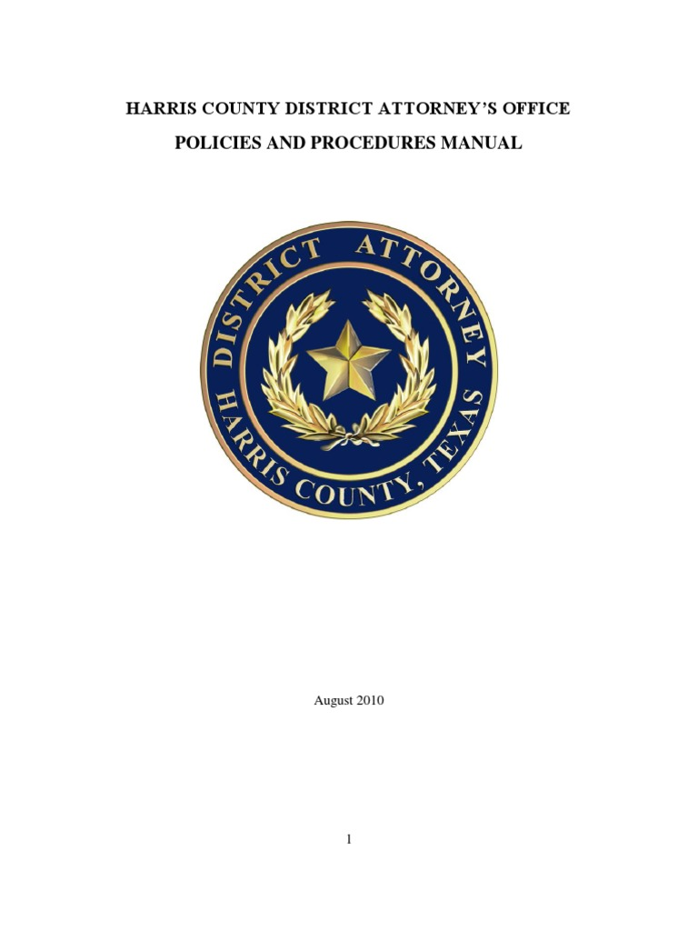 Harris County District Attorney S Office Operations Manual Overtime Trousers