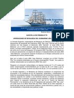 """GACETILLA DE PRENSA N°76 OPERACIONES DE BÚSQUEDA DEL SUBMARINO ARA """"SAN JUAN"""""""
