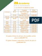 Monthly Activity Schedule 2018