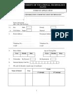 Application Form Univotec
