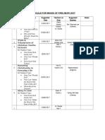 WINGS OF FIRE 2017 Schedule & Task