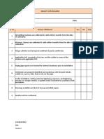 Piping Checklist