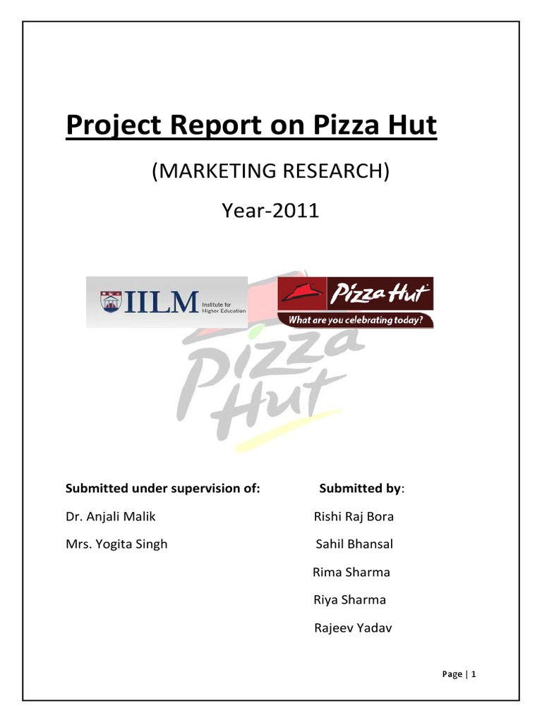 79582419 Project Report On Pizza Hut Docx Restaurant And