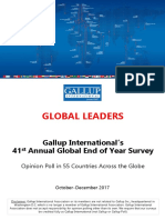 41ª encuesta mundial End of Year.  Worlwide Independent Network of Market Research / Gallup International (WIN/GIA).