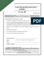 GTSE Online Class XI Physics Chemistry