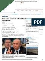 Putin Retira a Rússia Do Tribunal Penal Internacional - 16-11-2016 - Mundo - Folha de S