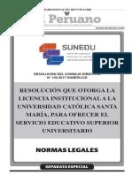 Resolución que otorga la Licencia Institucional a la Universidad Católica de Santa María para ofrecer el servicio educativo superior universitario