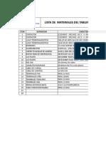 Lista de Materiales Del Tablero de Control de Grifo Centenario