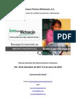 Síntesis Educativa Semanal de Michoacán del 03.01.2018
