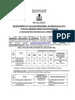 Notification Indian Navy Chargeman Posts
